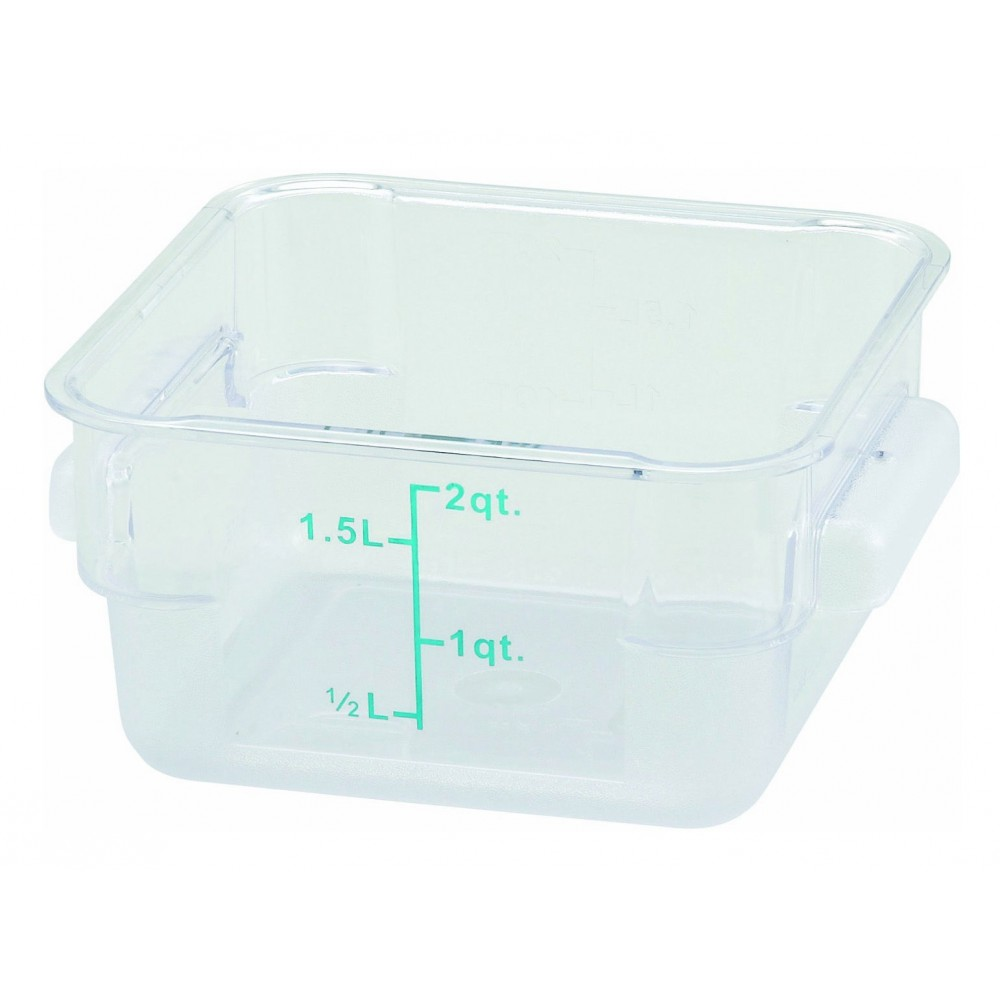 Winco PCSC-2C Polycarbonate Square Food Storage Container 2 Qt.