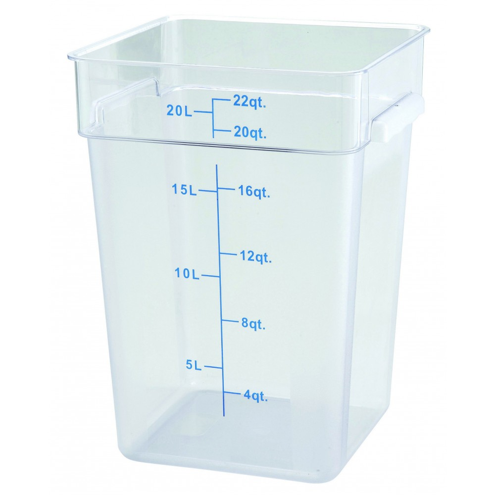 Winco PCSC-22C Polycarbonate Square Food Storage Container 22 Qt.