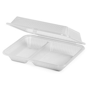 "G.E.T. Enterprises EC-15-1-CL Clear Eco-Takeouts 10"" x 8"" 2-Compartment Food Container"