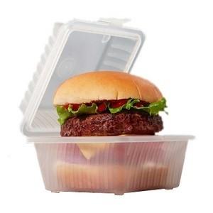 """G.E.T. Enterprises EC-08-1-CL Clear Eco-Takeouts 4-3/4"""" x 4-3/4"""" Single Entr�e Food Container"""