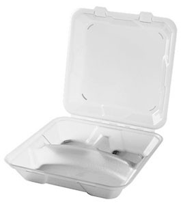 "G.E.T. Enterprises EC-06-1-CL Eco-Takeouts 9"" x 9"" 3-Compartment Food Container, Clear"