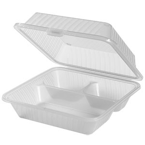 "G.E.T. Enterprises EC-09-1-CL Clear Eco-Takeouts 9"" x 9"" 3-Compartment Food Container"