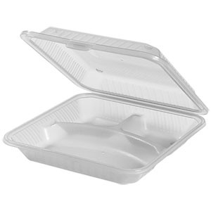 "G.E.T. Enterprises EC-12-1-CL Clear Eco-Takeouts 9"" x 9"" 3-Compartment Food Container"