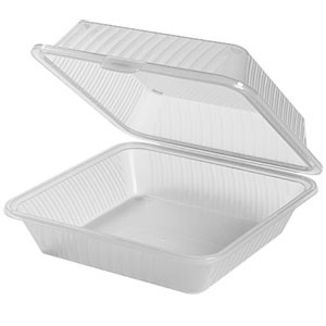 "G.E.T. Enterprises EC-10-1-CL Clear Eco-Takeouts 9"" x 9"" Single Entree Food Container"