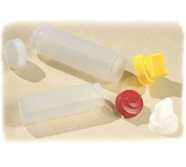 TableCraft 11663C3F SelecTop Dual-Way Natural Wide Mouth Squeeze Dispenser with 3 Top Opeings  16 oz.