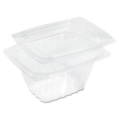 ClearPac Plastic Container with Lid, 5-7/8 x 4-7/8 x 2-7/8, Clear, 16 oz, 63/Bag
