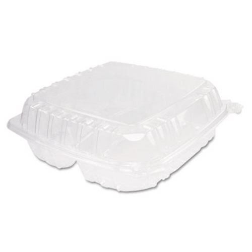 ClearSeal Plastic Hinged Container, 3-Compartment, 9 x 9-1/2 x 3, Clear, 200/Carton