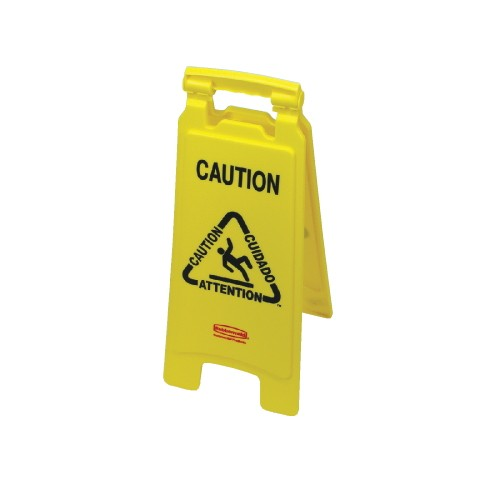 Closed 2-Side Floor Sign, 26 X 11 X 12, Multi-lingual Yellow