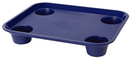 "G.E.T. Enterprises FT-20-CB Cobalt Blue Polypropylene 17"" x 14"" Fast Food Tray with 4-Holders"