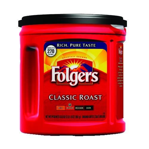 Folgers Classic Roast Regular Coffee Can, Ground 33.9 oz.