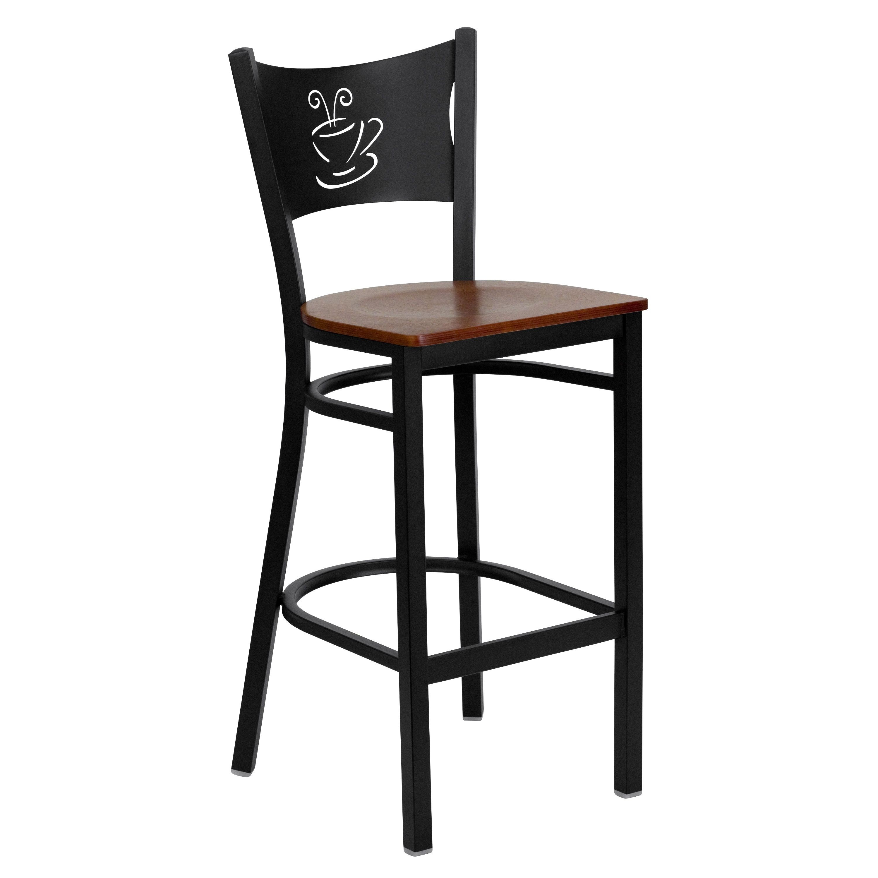 Flash Furniture XU-DG-60114-COF-BAR-CHYW-GG Coffee Back Black Metal Restaurant Barstool with Cherry Wood Seat