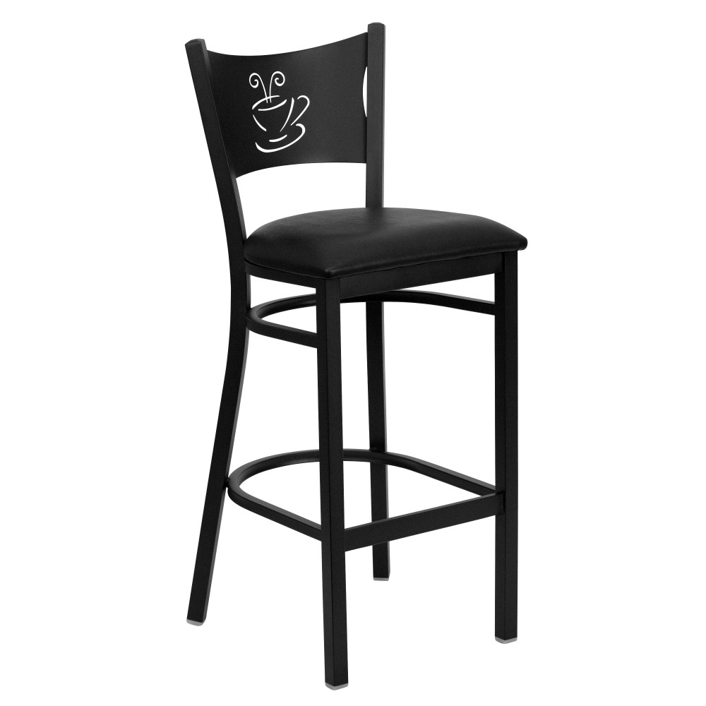 Coffee Back Metal Restaurant Barstool with Black Vinyl Seat - Black Powder Coat Frame