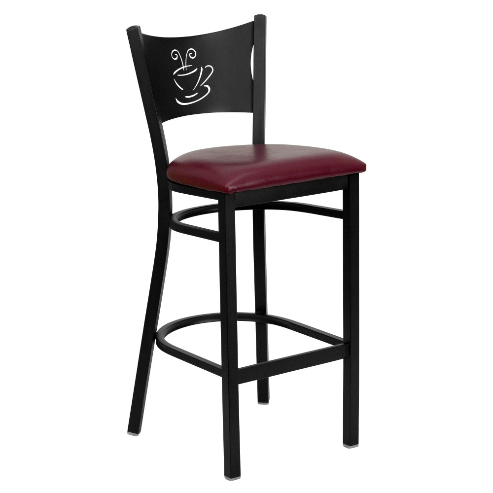 Flash Furniture XU-DG-60114-COF-BAR-BURV-GG Coffee Back Metal Restaurant Barstool with Burgundy Vinyl Seat Black Powder Coat Frame