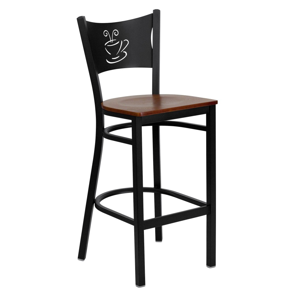 Coffee Back Metal Restaurant Barstool with Cherry Wood Seat - Black Powder Coat Frame
