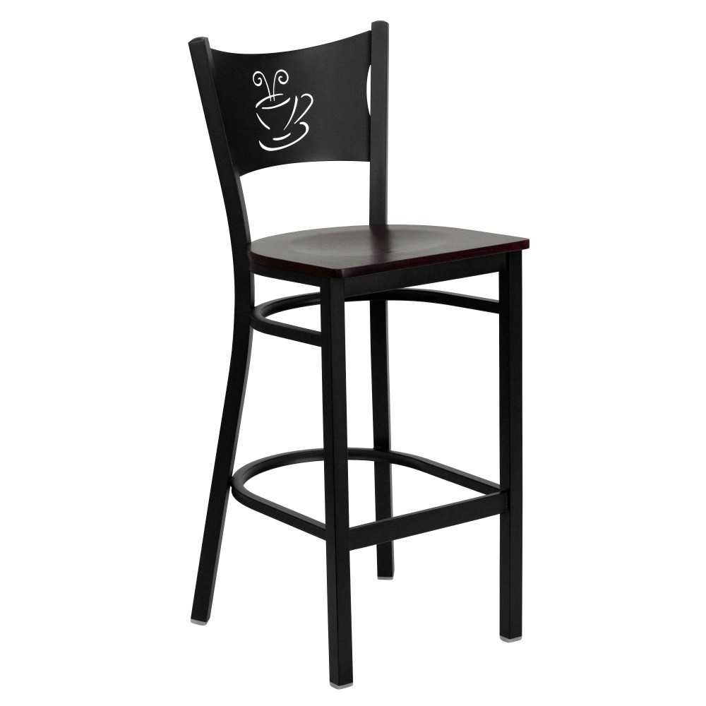 Coffee Back Metal Restaurant Barstool with Mahogany Wood Seat - Black Powder Coat Frame