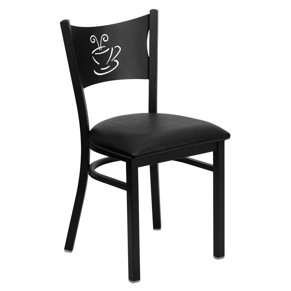Coffee Back Metal Restaurant Chair with Black Vinyl Seat - Black Powder Coat Frame