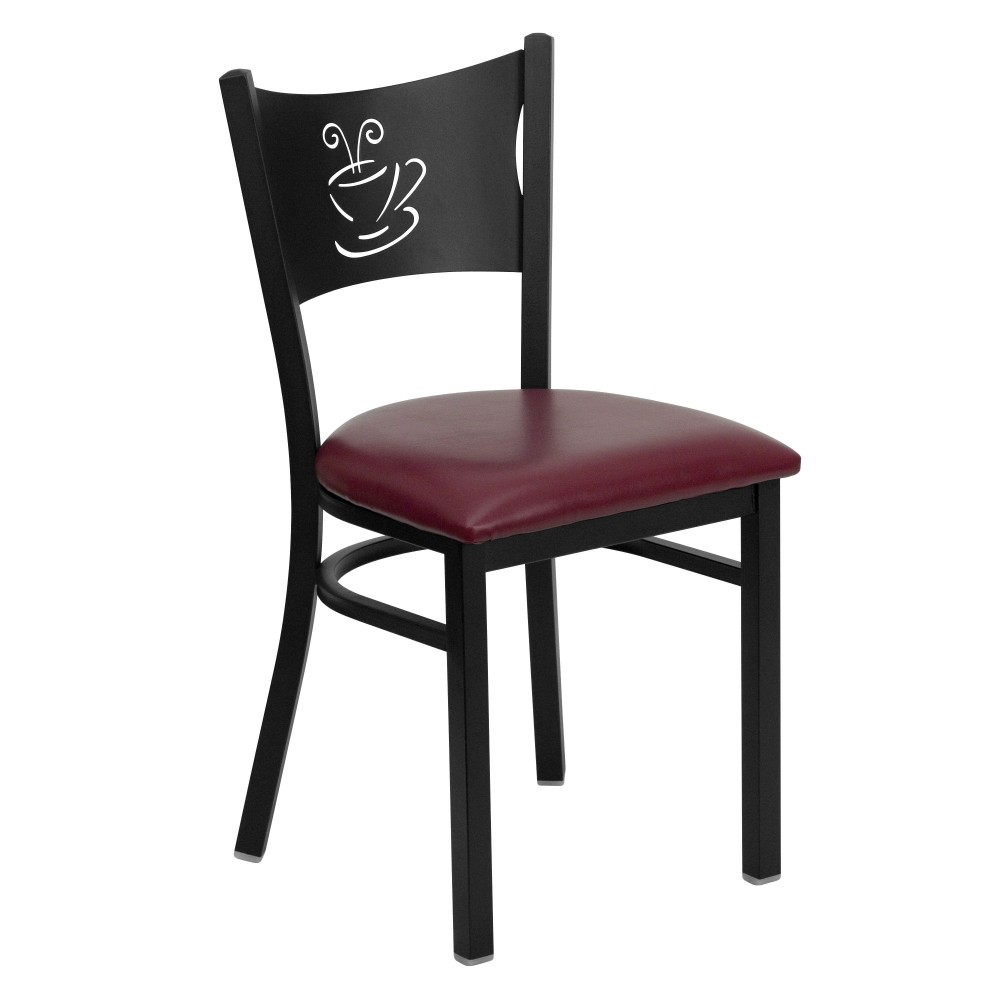 Coffee Back Metal Restaurant Chair with Burgundy Vinyl Seat - Black Powder Coat Frame