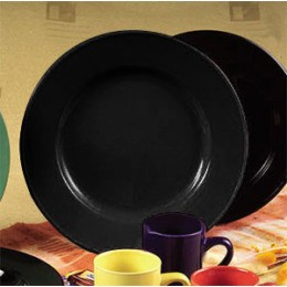 CAC China CDE-16BLK Color Dinner Plate, Black 10 5/8""