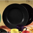 CAC China CDE-21BLK Color Dinner Plate, Black 12""
