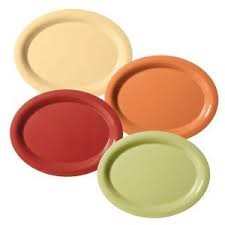 "G.E.T. Enterprises SP-OP-120-COMBO Combo Pack of 4 Harvest Colors Melamine 12"" x 9"" Oval Platter"
