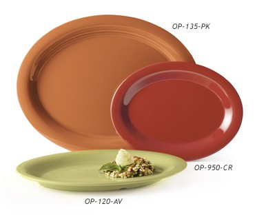 "G.E.T. Enterprises SP-OP-135-COMBO Combo Pack of 4 Harvest Colors Melamine 13-1/2"" x 10-1/4"" Oval Platter"