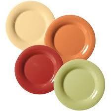 "G.E.T. Enterprises SP-WP-10-COMBO Combo Pack of 4 Harvest Colors Melamine 10-1/2"" Wide Rim Plate"