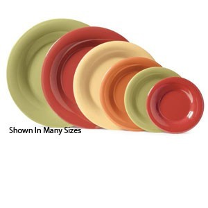 "G.E.T. Enterprises SP-WP-12-COMBO Combo Pack of 4 Harvest Colors Melamine 12"" Wide Rim Plate"