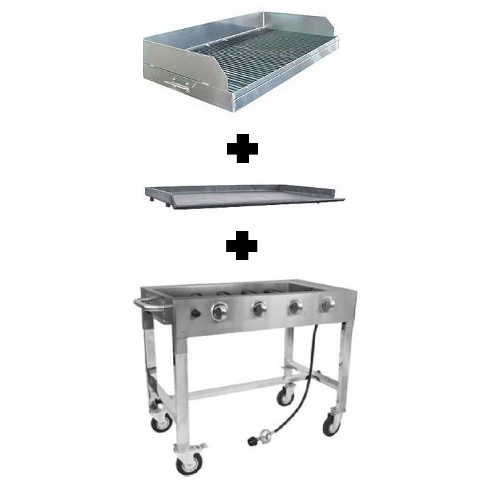 Commercial Gas Grill & Includes Charbroiler, Griddle, and Base