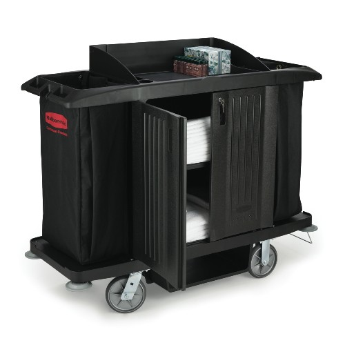 Compact Housekeeping Cart with Vinyl Bag, Black