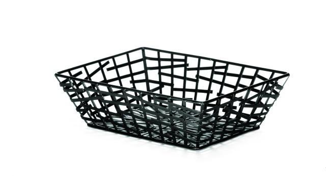 "TableCraft BC7209 Black Rectangular Serving/Bread Basket 9"" x 6-1/4"" x 2-1/2"""