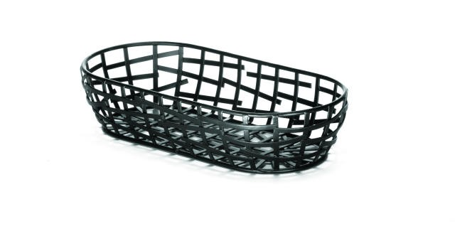 "TableCraft BC1709 Black Oblong Serving/Bread Basket 9"" x 4"" x 2"""