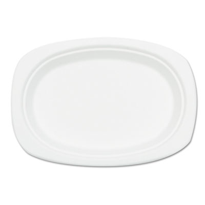 Compostable Sugarcane Bagasse Oval Plate, 9 x 6.5, White, 50/Pack