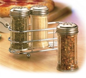 TableCraft 659N 2 oz. Fluted Glass Condiment Shaker and Rack