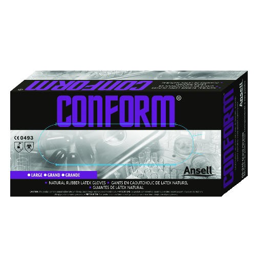 Conform Disposable Glove Medium Latex, White 100/Bx