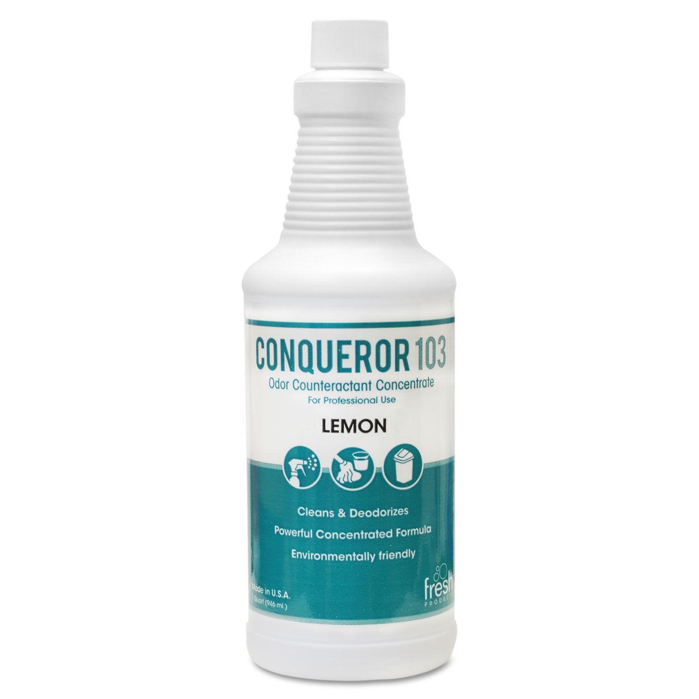 Conqueror 103 Odor Counteractant Concentrate, Lemon, 32 oz Bottle, 12/Carton
