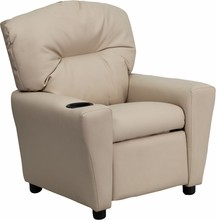 Flash Furniture BT-7950-KID-BGE-GG Contemporary Beige Vinyl Kids Recliner with Cup Holder