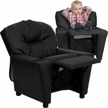 Flash Furniture BT-7950-KID-BK-LEA-GG Contemporary Black Leather Kids Recliner with Cup Holder
