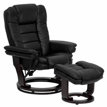 Contemporary Black Leather Recliner and Ottoman with Swiveling Mahogany Wood Base-32.5''W x 29.5 - 38.5''D x 40.5''H