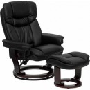 Flash Furniture BT-7821-BK-GG Contemporary Black Leather Recliner and Ottoman with Swiveling Mahogany Wood Base