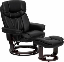 Contemporary Black Leather Recliner and Ottoman with Swiveling Mahogany Wood Base- 32.5''W x 29 - 39''D x 40.25''H