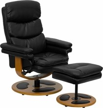 Contemporary Black Leather Recliner and Ottoman with Wood Base