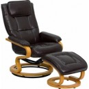 Flash Furniture BT-7615-BN-CURV-GG Contemporary Brown Leather Recliner and Ottoman with Swiveling Maple Wood Base