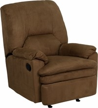 Contemporary Brown Microfiber Rocker Recliner