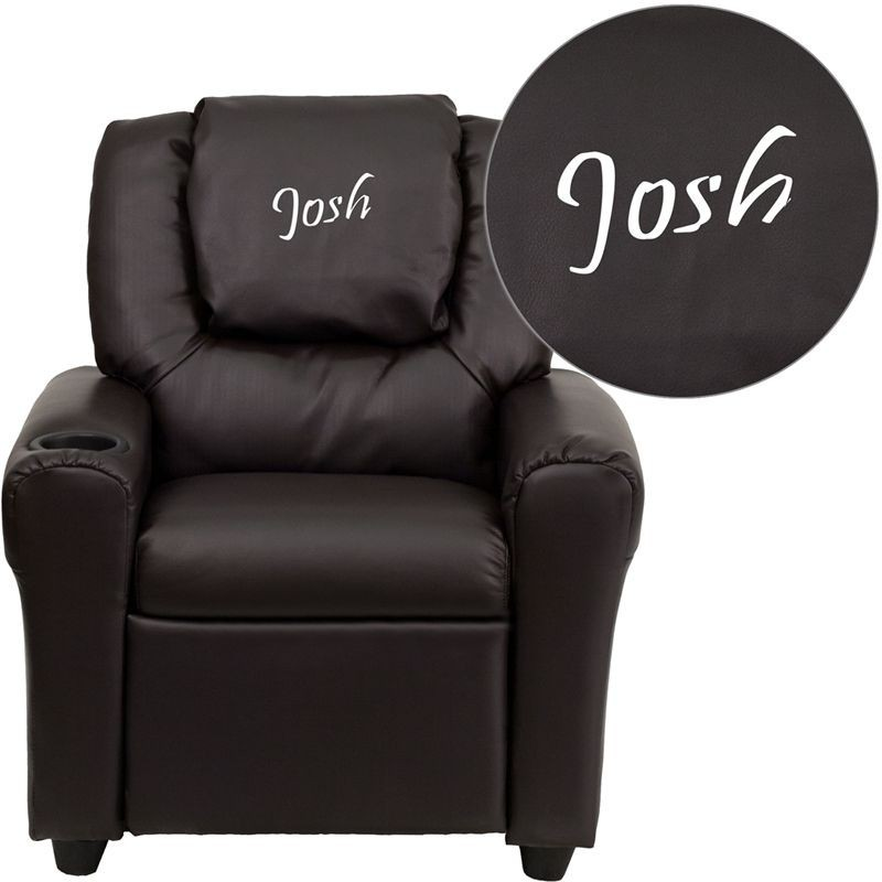 Flash Furniture DG ULT KID BRN GG Contemporary Brown Vinyl Kids Recliner