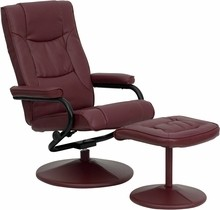 Flash Furniture BT-7862-BURG-GG Contemporary Burgundy Leather Recliner and Ottoman with Leather Wrapped Base