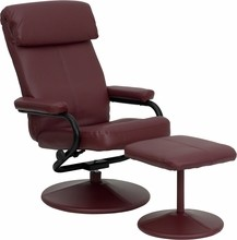 Contemporary Burgundy Leather Recliner and Ottoman with Leather Wrapped Base- 26.5''W x 31 - 41''D x 38''H