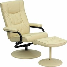 Contemporary Cream Leather Recliner and Ottoman with Leather Wrapped Base- 27.25''W x 29 - 39''D x 37.5''H