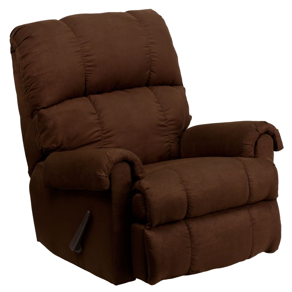 Contemporary Flatsuede Chocolate Microfiber Rocker Recliner