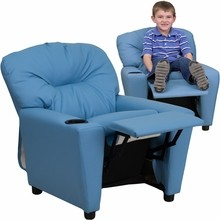 Flash Furniture BT-7950-KID-LTBLUE-GG Contemporary Light Blue Vinyl Kids Recliner with Cup Holder