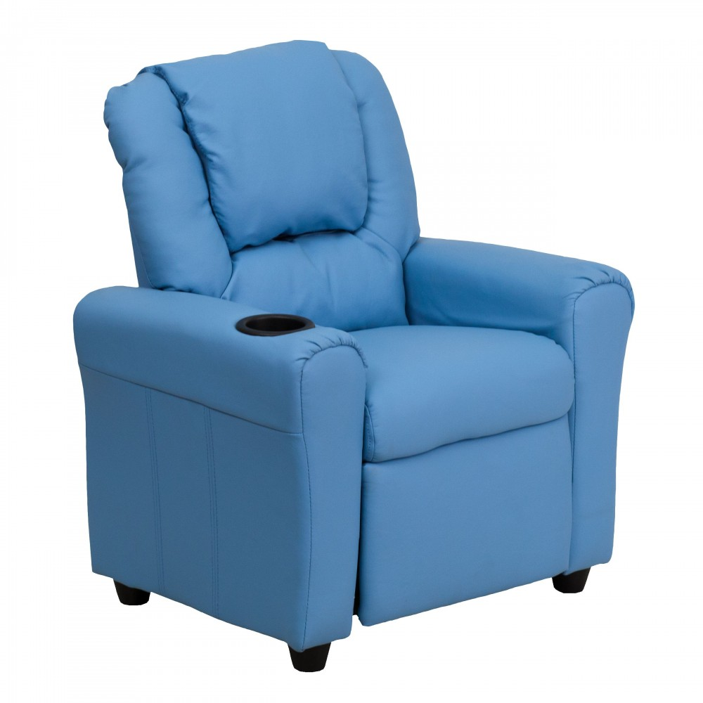 Flash Furniture DG-ULT-KID-LTBLUE-GG Contemporary Light Blue Vinyl Kids Recliner with Cup Holder and Headrest